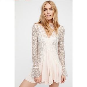 Free People Tell Tale Lace Minidress Tunic L Pink